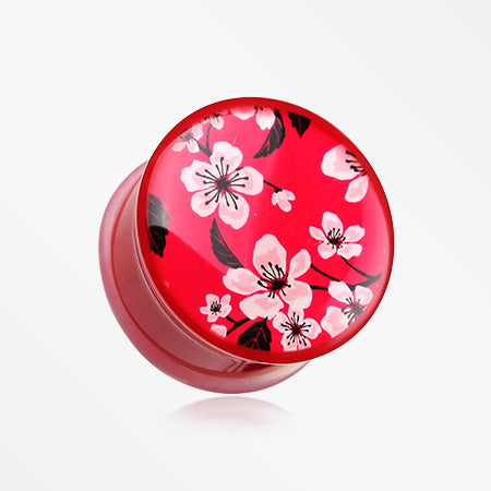 A Pair of Sakura Cherry Blossom Single Flared Plug-Red