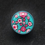 A Pair of Blue Sakura Cherry Blossom Single Flared Plug-Blue/Aqua