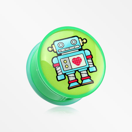 A Pair of Rescue Robot Single Flared Plug-Green