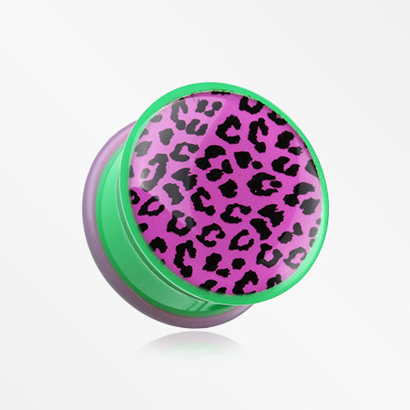A Pair of Retro Purple Leopard Print Single Flared Plug-Purple