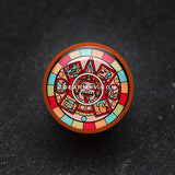 A Pair of Chromatic Mayan Calendar Single Flared Ear Gauge Plug-Orange/Brown