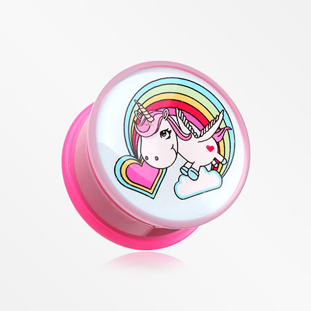 A Pair of Rainbow Unicorn Single Flared Ear Gauge Plug-Pink/Fuchsia