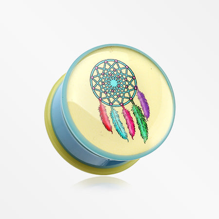A Pair of Retro Dream Catcher Single Flared Plug-Yellow