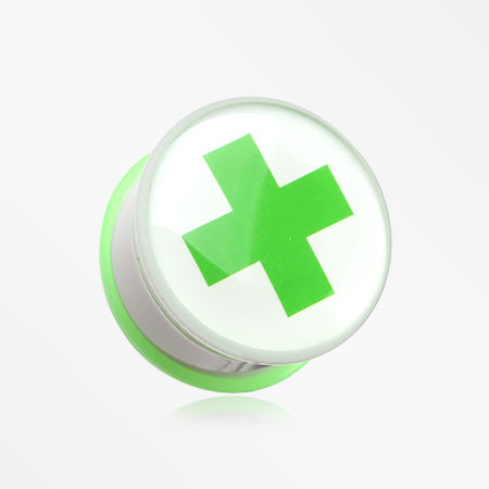 A Pair of Green Cross Toxic Emergency Single Flared Plug-Green
