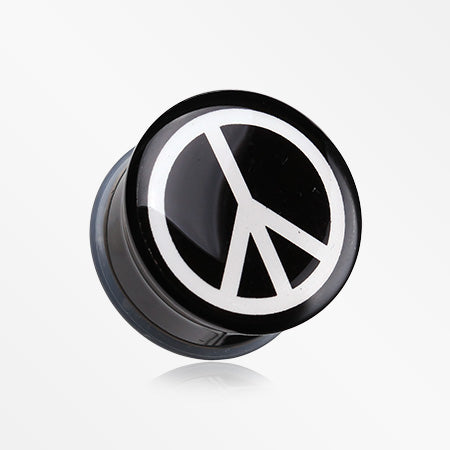 A Pair of Peace Logo Single Flared Ear Gauge Plug-Black
