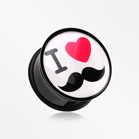 A Pair of 'I Heart Mustache' Single Flared Ear Gauge Plug-Black