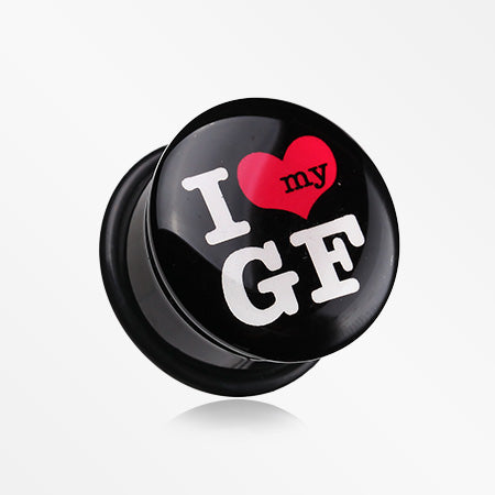 A Pair of I Heart my GF Single Flared Ear Gauge Plug-Black