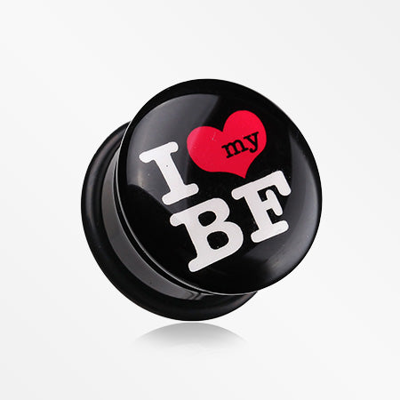 A Pair of I Heart my BF Single Flared Ear Gauge Plug-Black