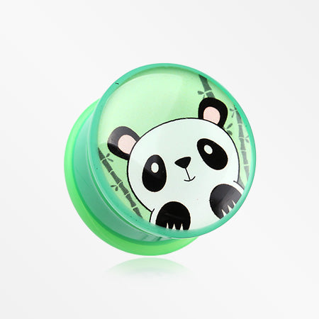 A Pair of Panda the China Single Flared Ear Gauge Plug-Green