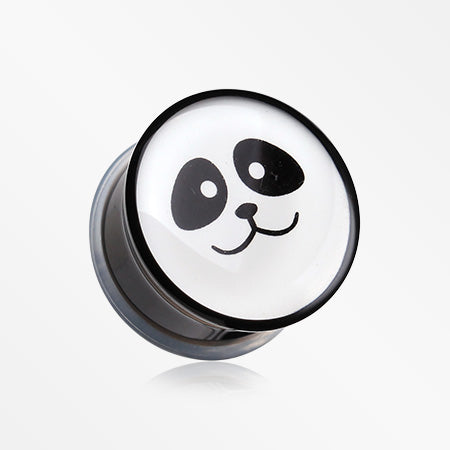 A Pair of Panda Facial Single Flared Ear Gauge Plug-Black