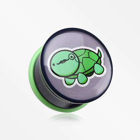 A Pair of Turtle the Mustache Detective Single Flared Plug-Green