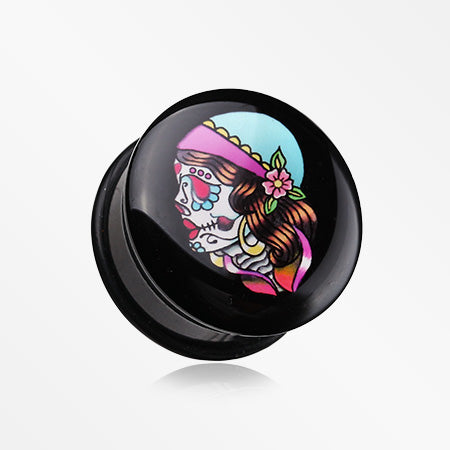 A Pair of Day of the Dead Lady Skull Single Flared Ear Gauge Plug-Black
