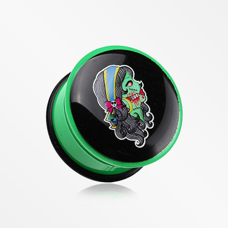 A Pair of Hot Zombie Girl Single Flared Ear Gauge Plug-Green