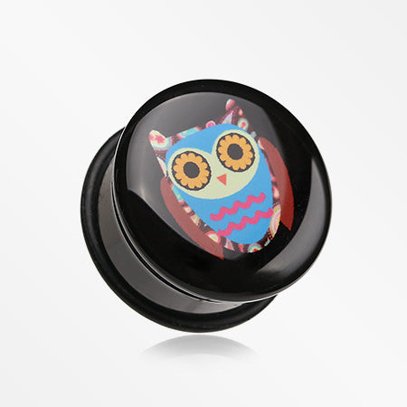 A Pair of Retro Owl Single Flared Plug-Black