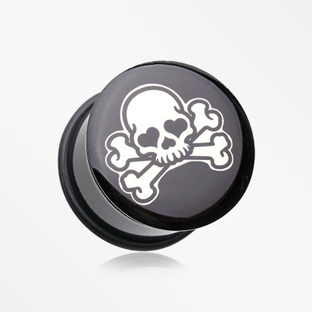 A Pair of Pirate Emo Skull Single Flared Ear Gauge Plug-Black