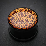 A Pair of Persian Leopard Print Single Flared Ear Gauge Plug-Orange/Brown