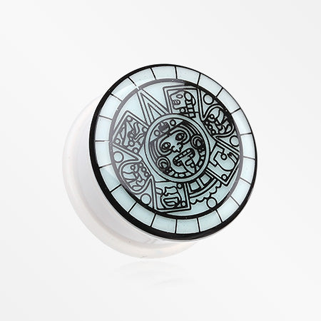 A Pair of Glow in the Dark Mayan Calendar Single Flared Plug-Blue/Aqua