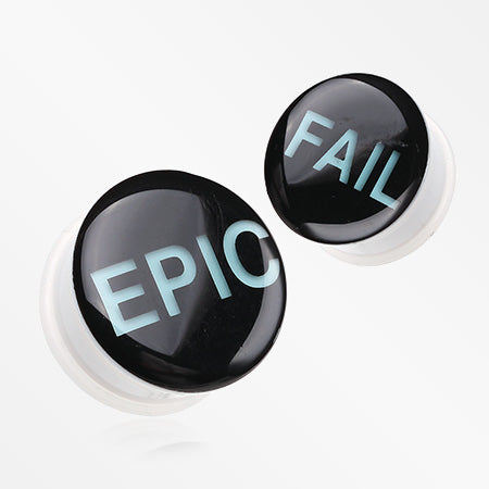 A Pair of Glow in the Dark Epic Fail Single Flared Ear Gauge Plug-Black