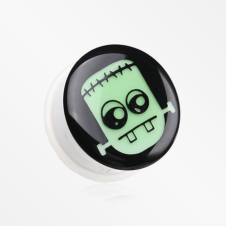 A Pair of Glow in the Dark Frankenstein Single Flared Plug-Green