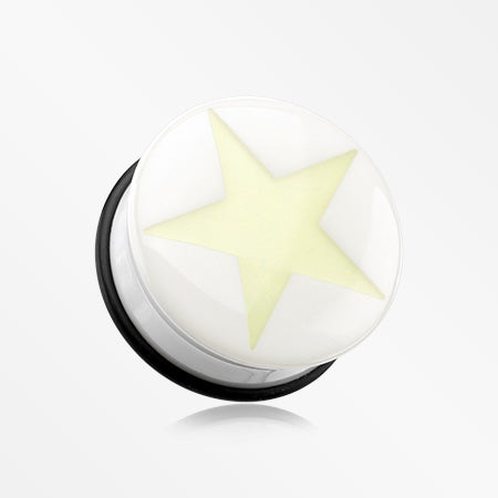 A Pair of Glow in the Dark Solo Star Single Flared Ear Gauge Plug-Clear/White