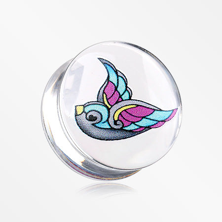 A Pair of Flying Swallow Clear UV Double Flared Ear Gauge Plug-Blue/Aqua