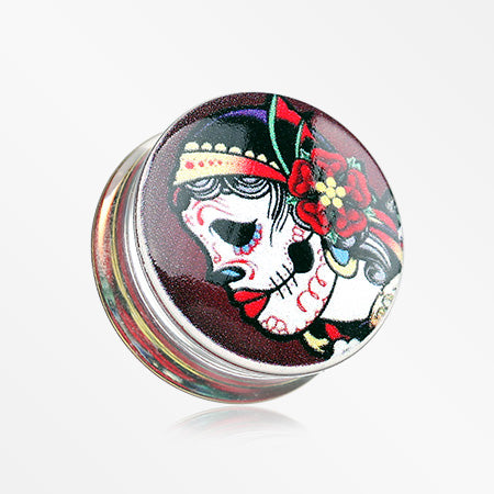 A Pair of Day of the Dead Gypsy Sugar Skull Clear UV Double Flared Ear Gauge Plug-Red