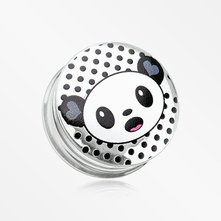 A Pair of Adorable Baby Panda Clear UV Double Flared Ear Gauge Plug-Black