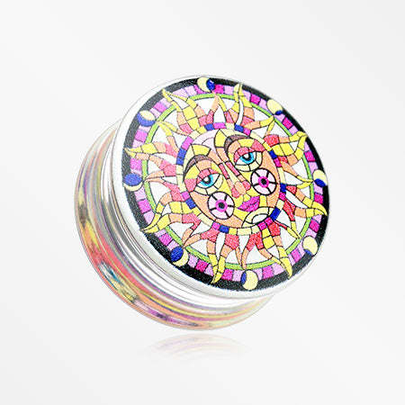A Pair of Cathedral Sun Print Acrylic UV Double Flared Ear Gauge Plug-Rainbow/Multi-Color