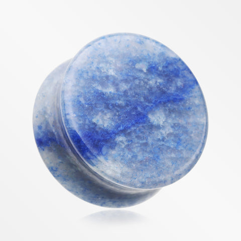 A Pair of Blue Aventurine Stone Double Flared Ear Gauge Plug