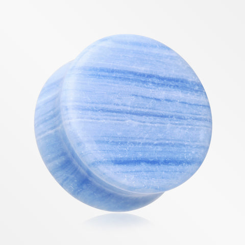 A Pair of Blue Lace Agate Stone Double Flared Ear Gauge Plug