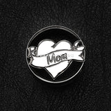 A Pair of 'I Heart Mom' Hollow Steel Double Flared Ear Gauge Plug-Steel