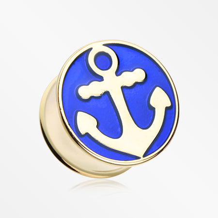A Pair of Golden Sailor Anchor Double Flared Ear Gauge Plug-Blue