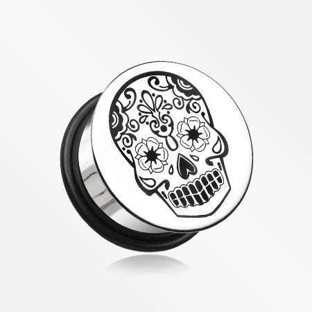 A Pair of Single Flared Steel Day of the Dead Sugar Skull Flat Top Hollow Plug-Steel