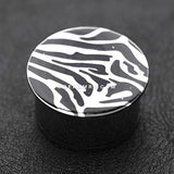 A Pair of Zebra Plate Hollow Back Single Flared Steel Plug-Black