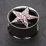A Pair of Leopard Star Hollow Double Flared Steel Ear Gauge Plug-Brown