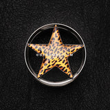 A Pair of Leopard Star Hollow Double Flared Steel Ear Gauge Plug-Orange