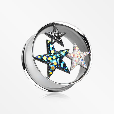 A Pair of Triple Star Multi-Gem Sparkle Tunnel Ear Gauge Plug-Blue/Aqua