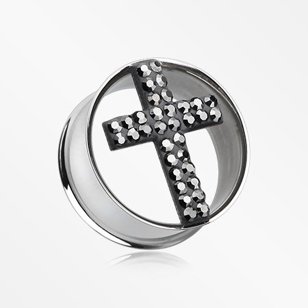 A Pair of Glistening Cross Multi-Gem Sparkle Tunnel Ear Gauge Plug-Black