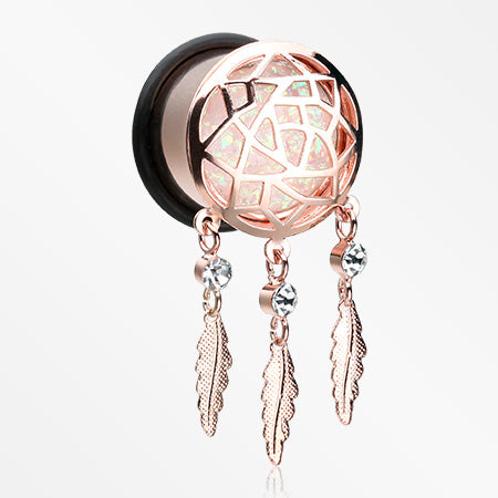 A Pair of Rose Gold Opal Sparkle Dreamcatcher Single Flared Ear Gauge Plug-White