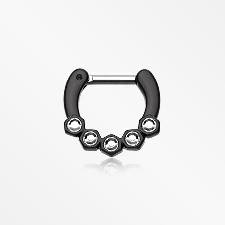 Colorline Hexa Gemina Sparkle Septum Clicker-Black/Clear