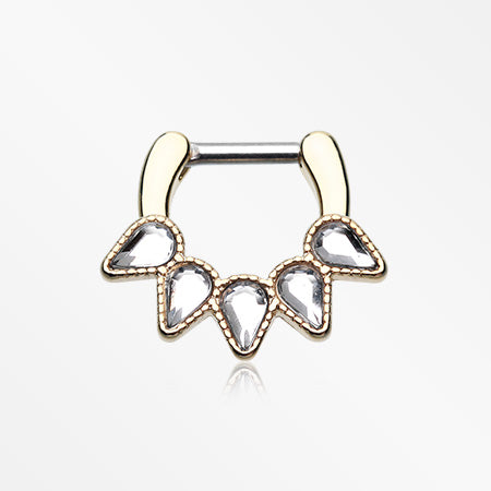 Golden Quinary Spear Septum Clicker-Clear