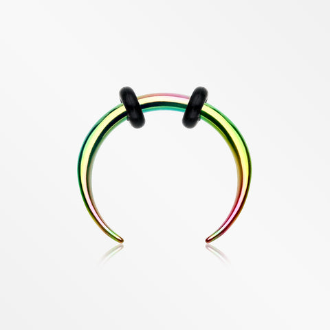 Colorline Basic Steel Pincher Septum Ring-Rainbow