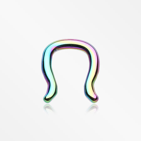 Blackline Steel Septum Ring-Rainbow