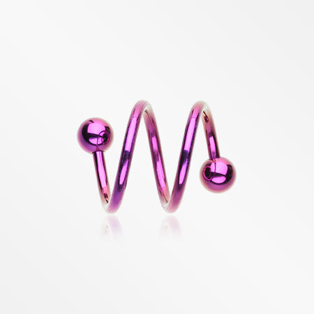Colorline PVD Double Twist Spiral Ring-Purple