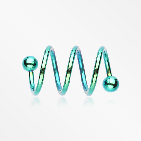 Colorline PVD Triple Twist Spiral Ring-Green