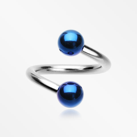 Basic Steel Twist Spiral Ring with PVD Plated Balls-Blue