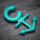 A Pair of Classic Anchor Acrylic Ear Gauge Taper Hanger-Teal