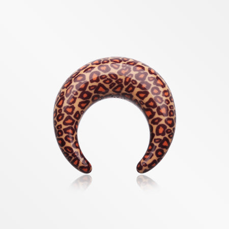 A Pair of Cheetah Print Acrylic Buffalo Taper-Brown