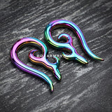 A Pair of Black Line Tailed Tribal Titanium Taper -Rainbow