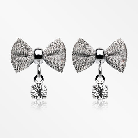 Dainty Mesh Bow-Tie Sparkle Dangle Ear Stud Earrings-Clear